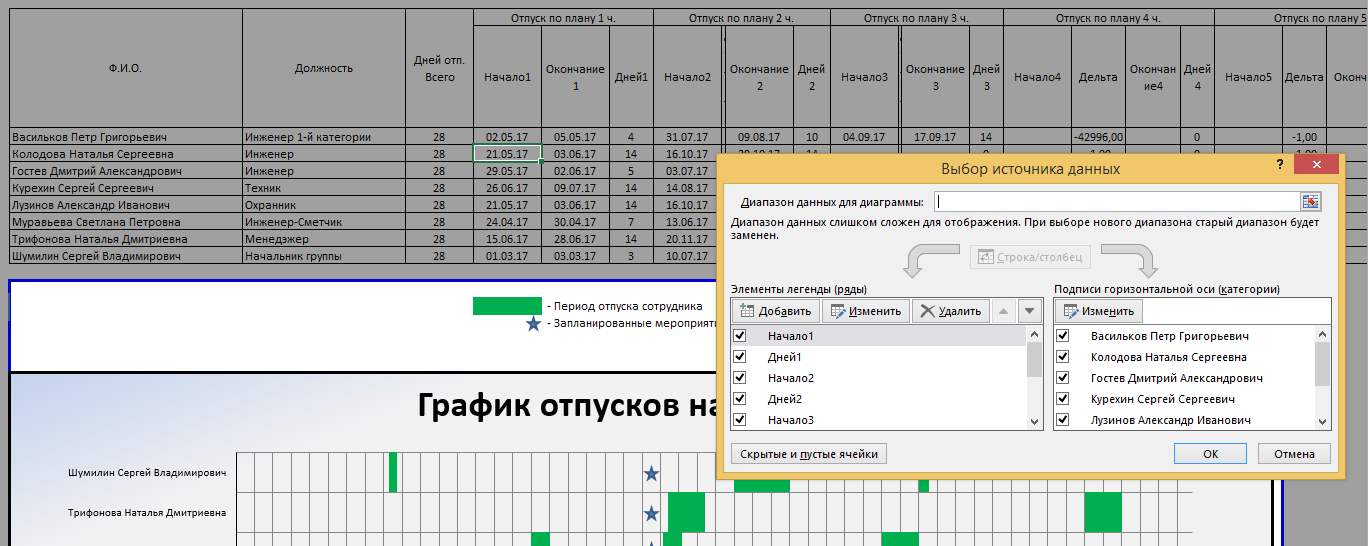Шаблон графика отпусков (или графика обучения или иного графика) в MS Excel файле - 5