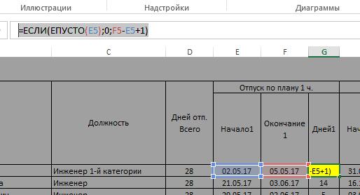 Шаблон графика отпусков (или графика обучения или иного графика) в MS Excel файле - 8