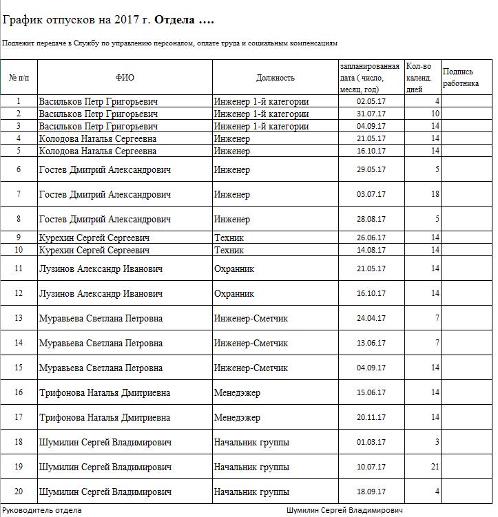 Шаблон графика отпусков (или графика обучения или иного графика) в MS Excel файле - 1