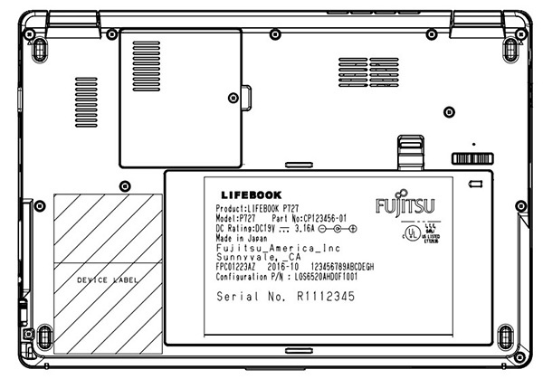 Fujitsu Lifebook P727, схематичное изображение
