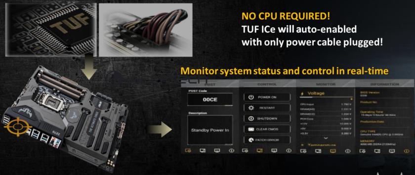 Центральный процессор не нужен для диагностики и мониторинга системной платы ASUS TUF Z270 MARK 1