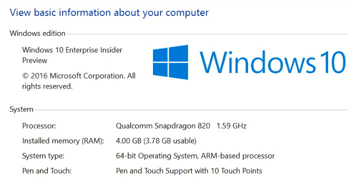 Microosft продемонстрировала работу Windows 10 на устройстве, оснащенном SoC Snapdragon 820