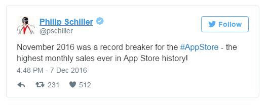 Ноябрь 2016 стал самым успешным месяцем в истории App Store