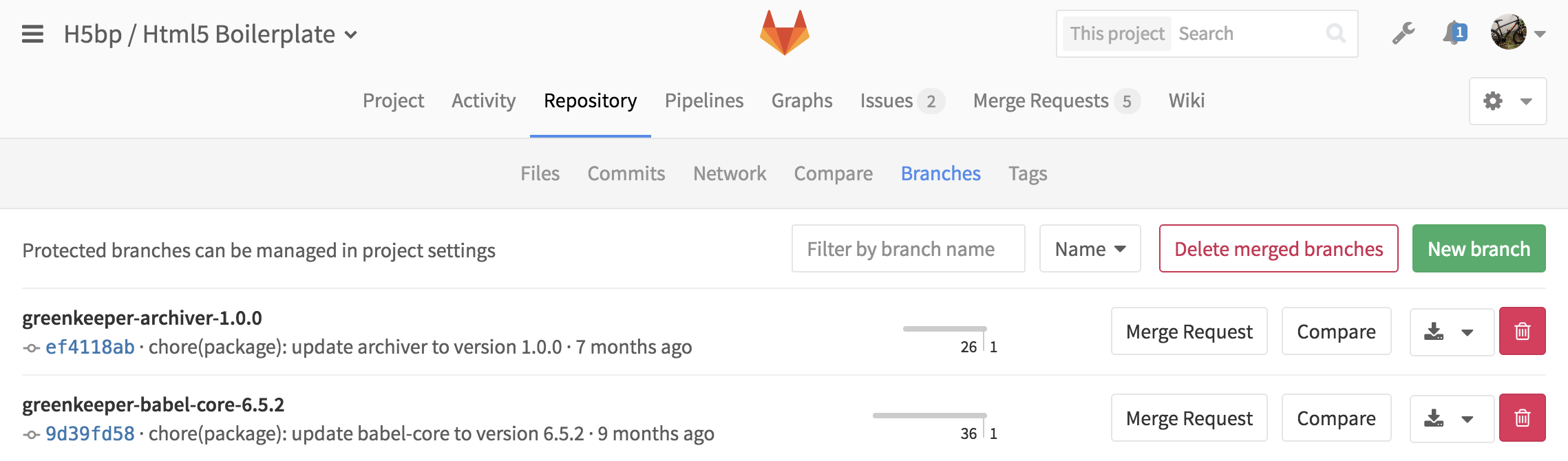 Quickly delete all merged branches in GitLab 8.14