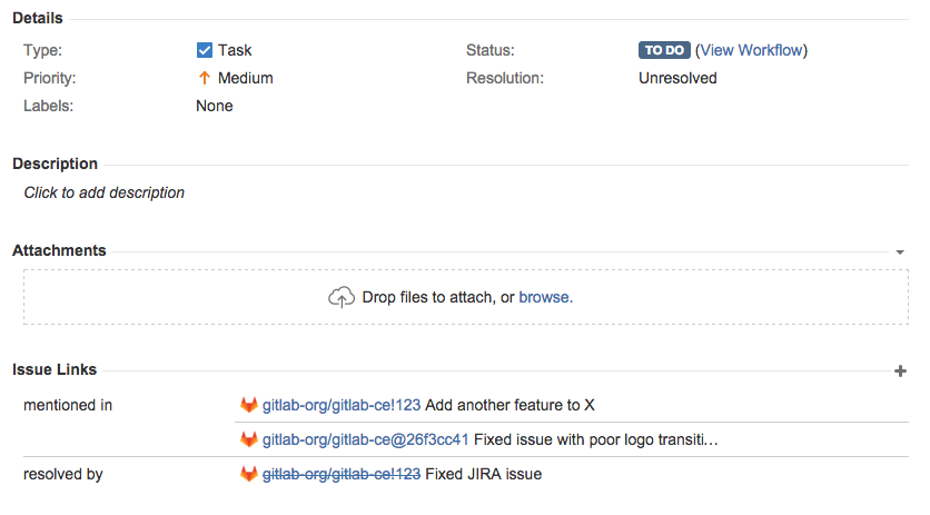 Remote Issue Links to JIRA with GitLab 8.14
