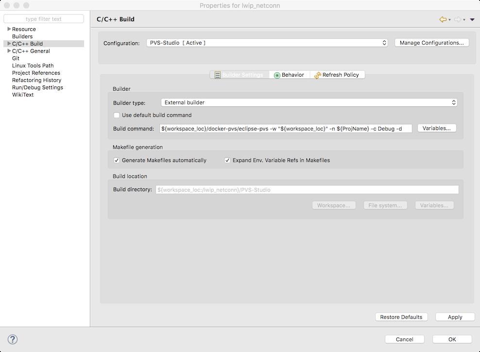 Встраиваем PVS-Studio в Eclipse CDT (macOS) - 2