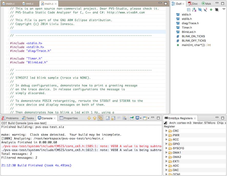 Встраиваем PVS-Studio в Eclipse CDT (macOS) - 3