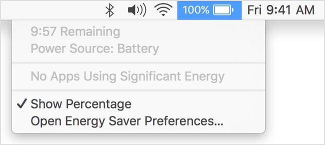 Из меню статуса ноутбуков MacBook убрали оставшееся время работы от батареи