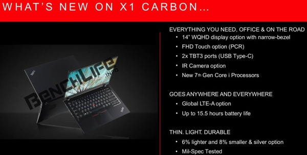 Lenovo ThinkPad X1 Carbon образца 2017 года, характеристики и возможности