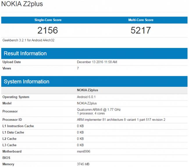 В Geekbench замечен смартфон Nokia Z2 Plus