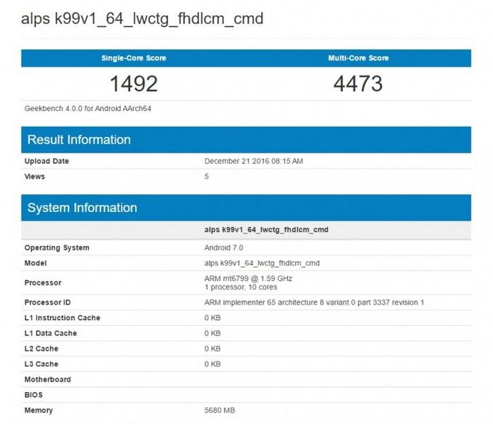 SoC MediaTek Helio X30 в тесте Geekbenhc пока демонстрирует низкие результаты