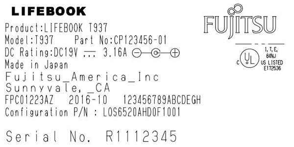 Fujitsu Lifebook T937, этикетка