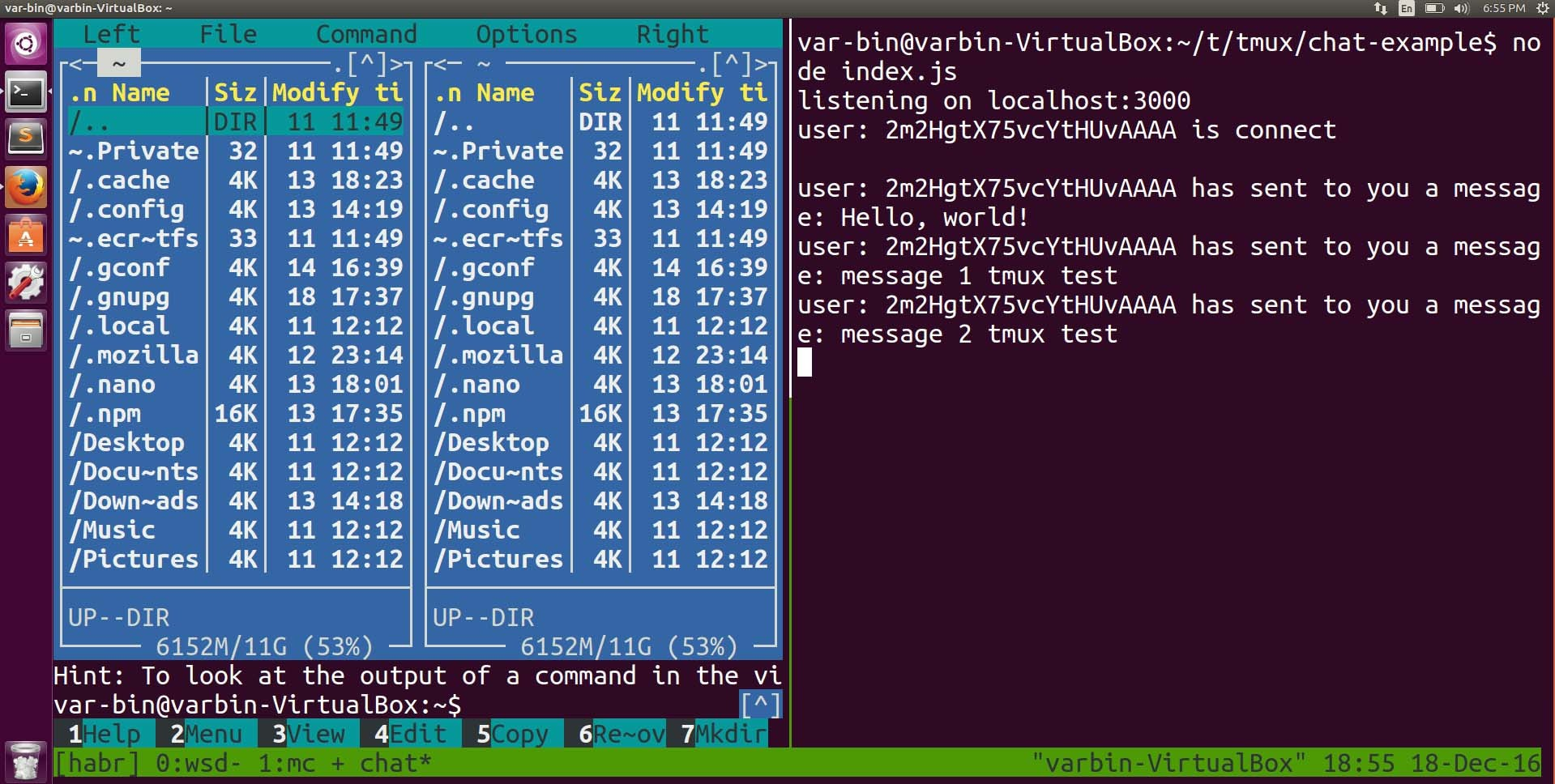 example tmux. tmux attach