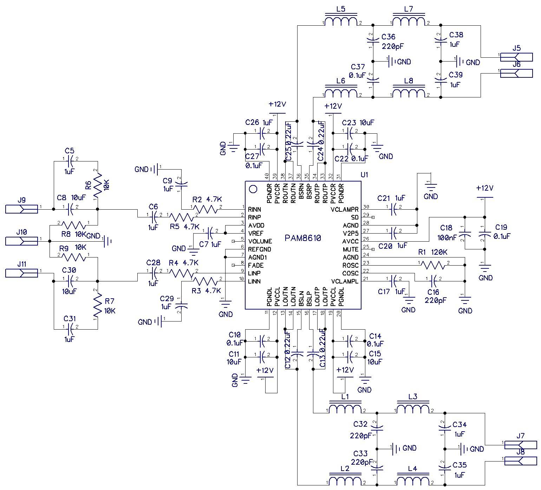 Схема усилителя на микросхеме PAM8610