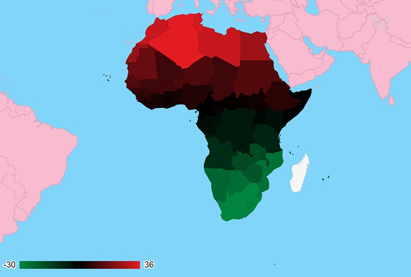 Google Charts – Africa with Colors of Pan-African Flag