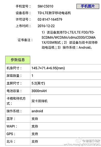 Анонс смартфона Samsung Galaxy C5 Pro ожидается в январе
