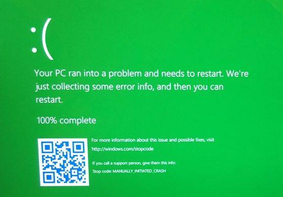 В Windows 10 появился «зеленый экран смерти»