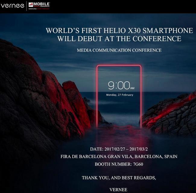 Vernee подтвердила анонс первого смартфона с SoC Helio X30 на MWC 2017
