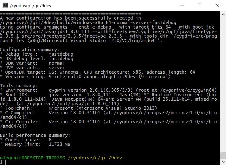 Пошаговая инструкция: сборка JDK9 из исходников на Windows 10 - 13