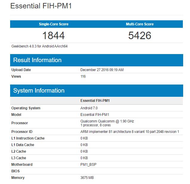 Модульный смартфон Essential может получить SoC Snapdragon 835 и 4 ГБ ОЗУ