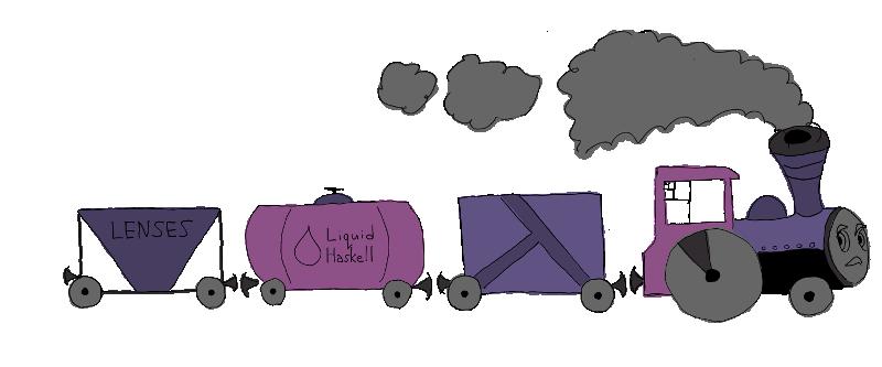 Поезд состоящий из трех вагонов (в представлении художника)