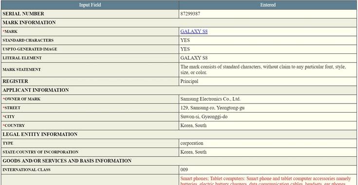 Samsung, наконец, зарегистрировала торговую марку Galaxy S8