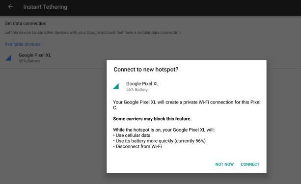 Смартфоны Google Pixel и Nexus получили функциональность Instant Tethering