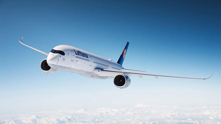 Информационно-развлекательная система самолета Lufthansa A350-900 включает персональные дисплеи большого размера