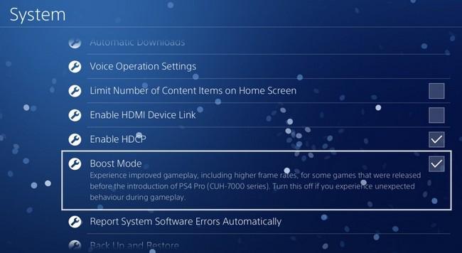 Консоль PS4 Pro получит режим Boost Mode