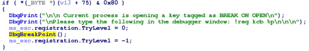 Недокументированные возможности Windows: точки остановки для ключей реестра - 1