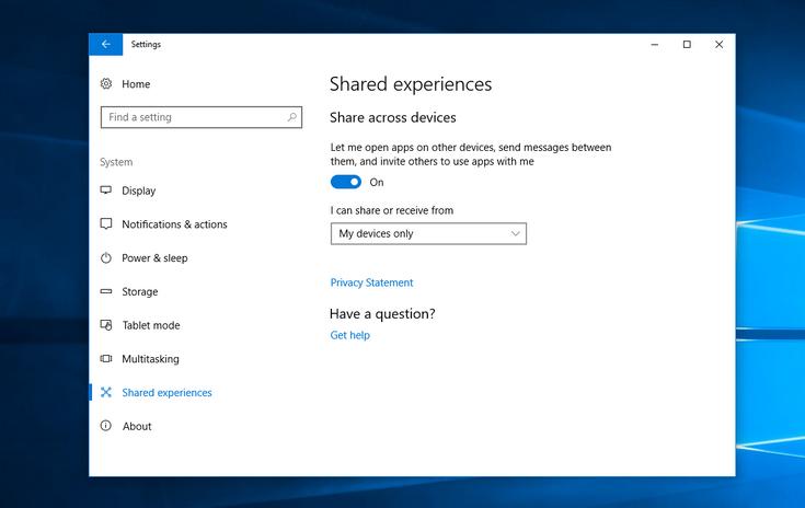 Проект Microsoft Project Rome превратится в функцию Shared Experiences