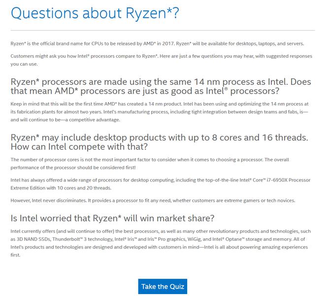 Intel учит сотрудников правильно отвечать на вопросы, касающиеся процессоров AMD Ryzen - 1
