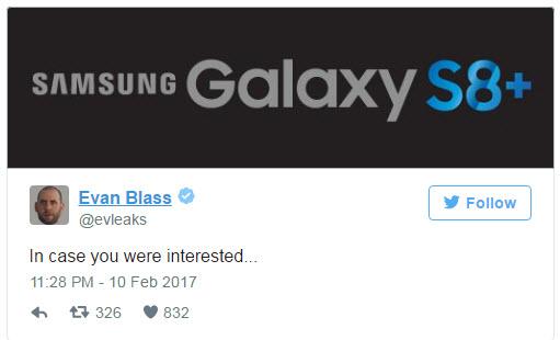 Старшая модель нового флагманского смартфона Samsung будет называться Galaxy S8+