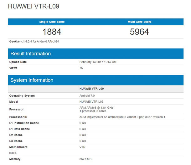 Смартфон Huawei P10 прошел тест Geekbench