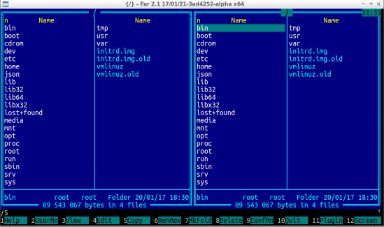 Рисунок 2 - Far Manager 2 на Linux (нажмите на картинку для увеличения)