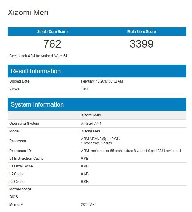 Смартфон Xiaomi Mi 5C с Android 7.1.1 замечен в базе данных Geekbench