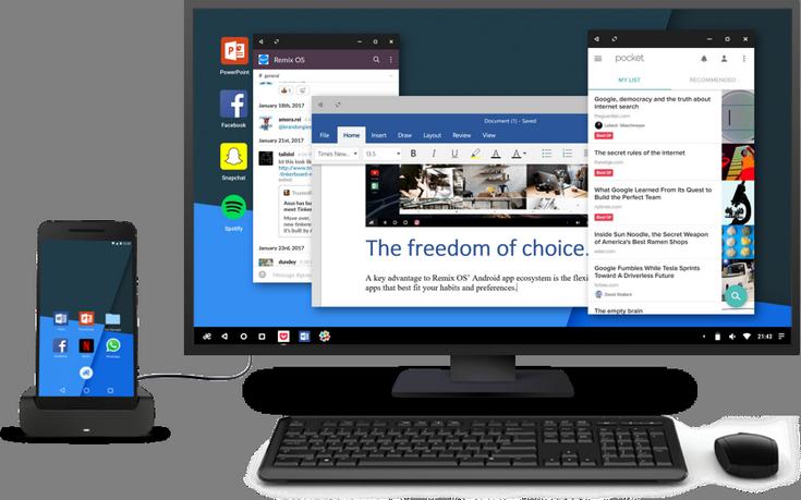 Remix OS for Mobile позволит превратить смартфон в ПК