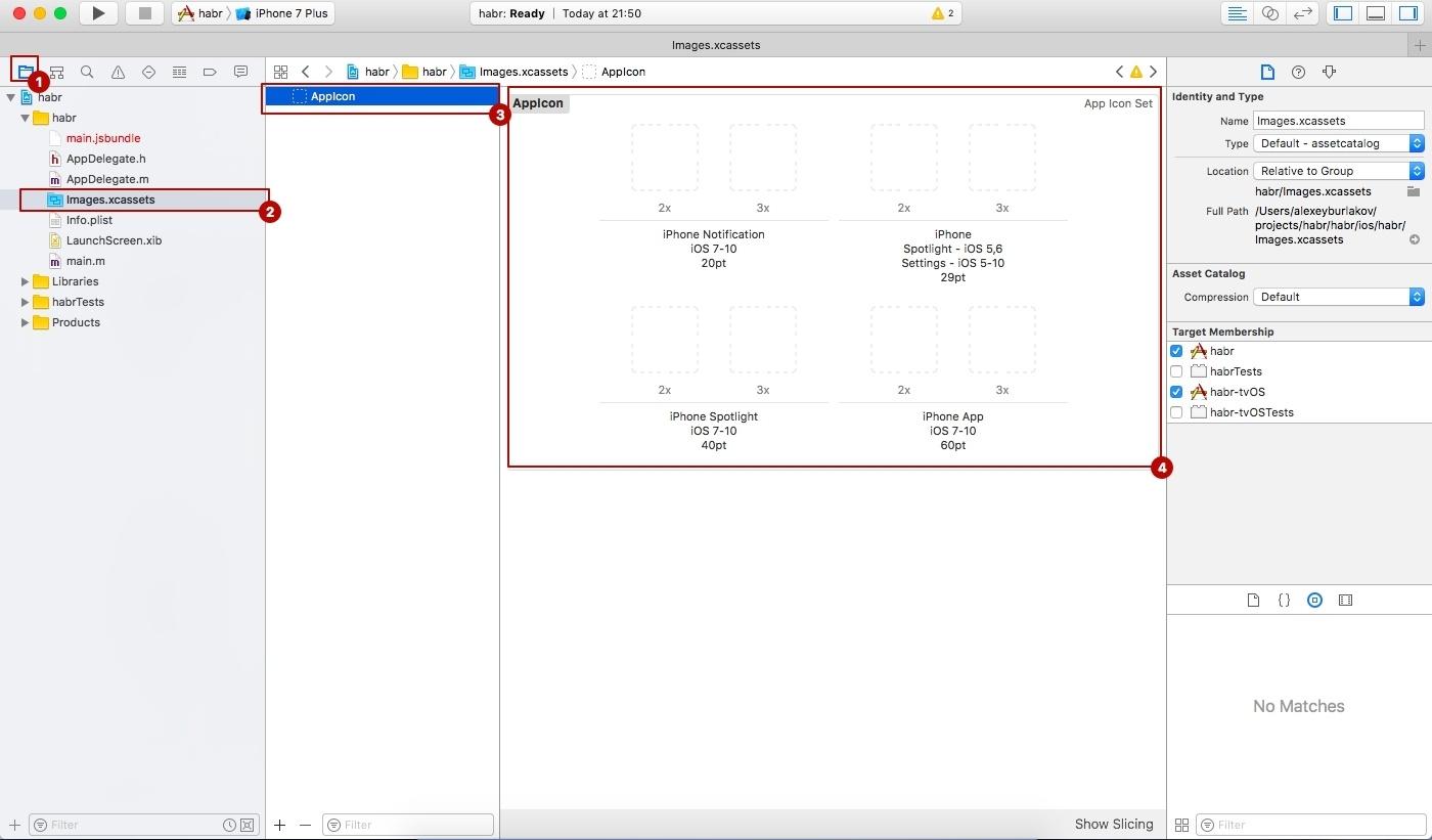 Как добавить AppIcon и LaunchScreen в приложение на React Native - 1