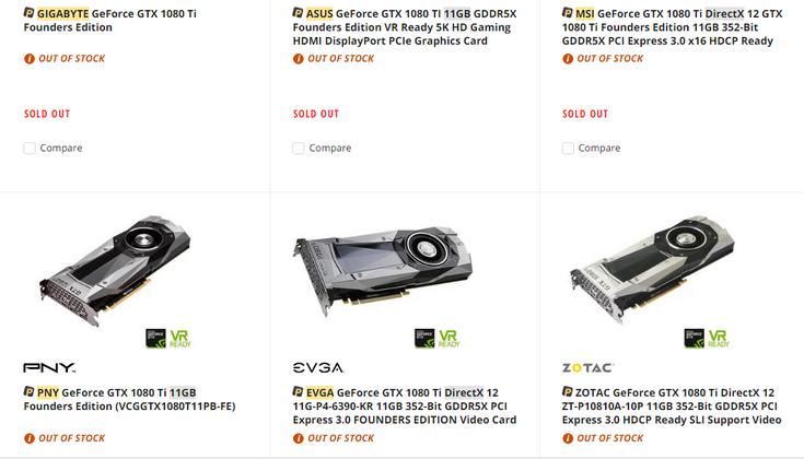 GeForce GTX 1080 Ti почти закончились в магазинах