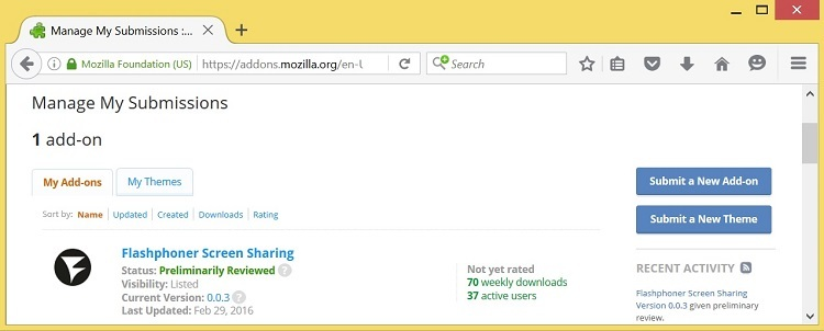 Скриншаринг на сайте по WebRTC из браузера Mozilla Firefox - 11