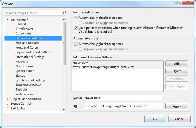Visual Studio 2015 'Tools' - 'Options' - 'Extensions and Updates' dialogue