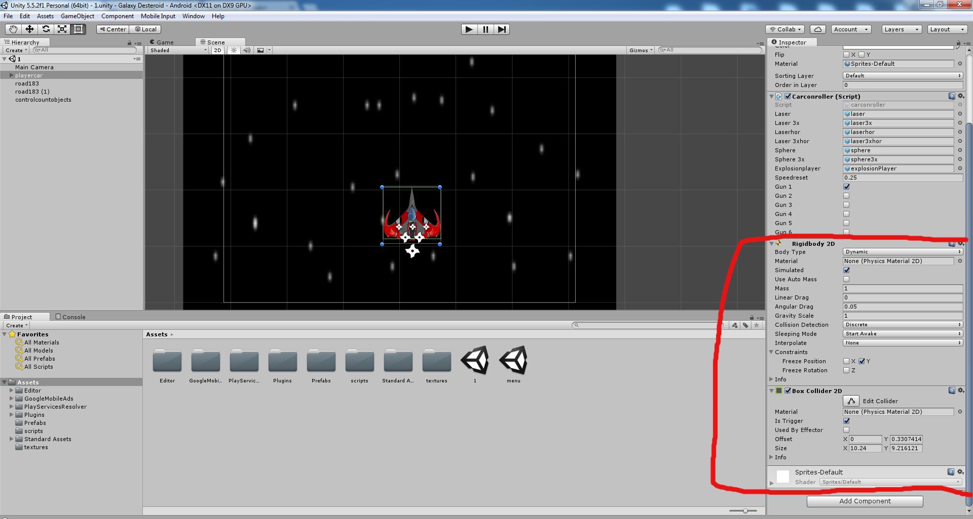 Разработка космической стрелялки для android с использованием игрового движка Unity3D - 15