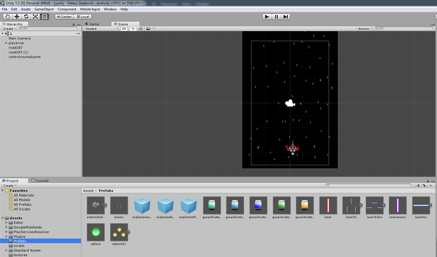Разработка космической стрелялки для android с использованием игрового движка Unity3D - 6