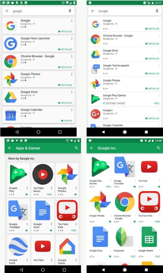 Внешний вид Google Play существенно изменен