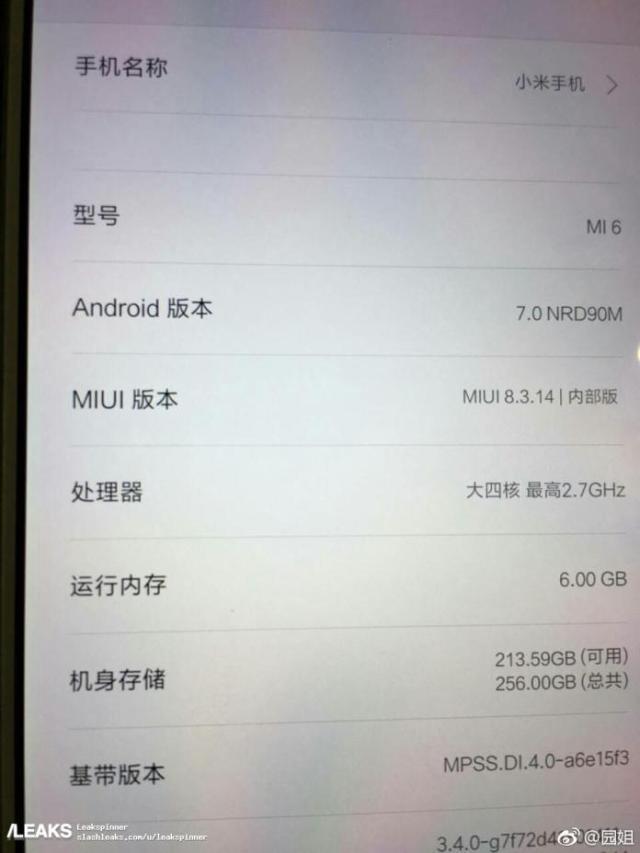 Изображение экрана Xiaomi Mi6 подтверждает наличие 6 ГБ ОЗУ и 256 ГБ флэш-памяти