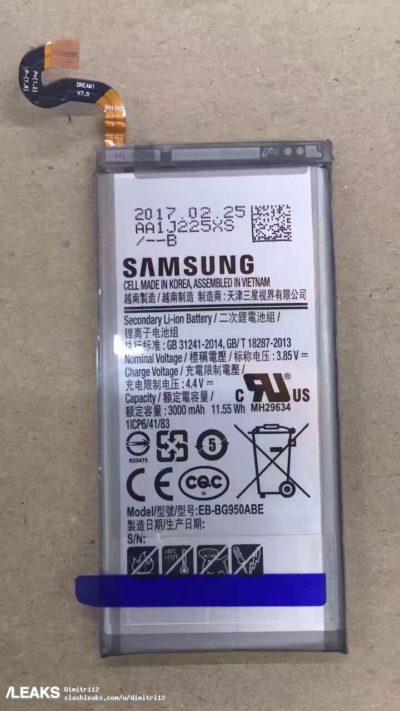 Фотографии аккумуляторов Samsung Galaxy S8 и Galaxy S8+ подтверждают их емкость