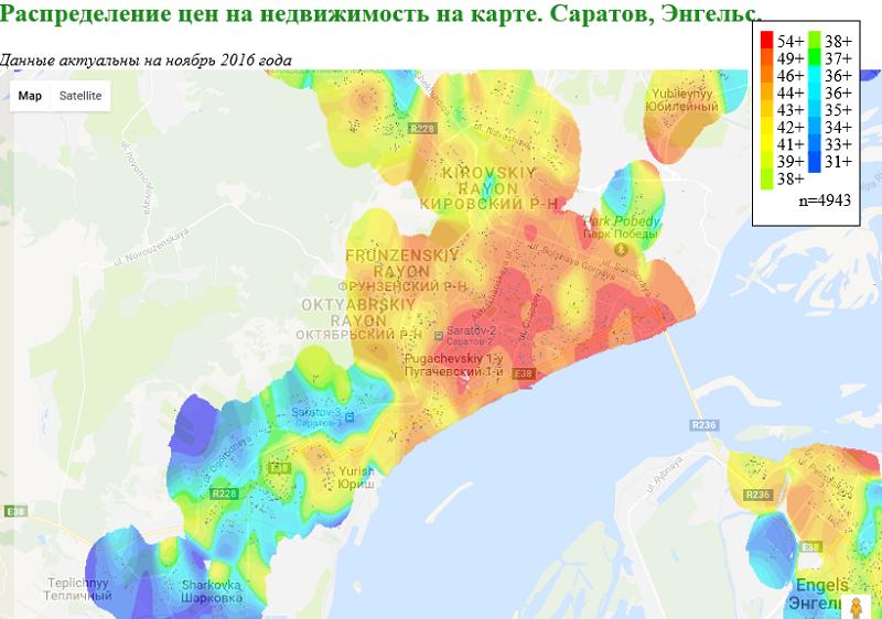 Статистика по стоимости недвижимости — визуализация на карте - 1