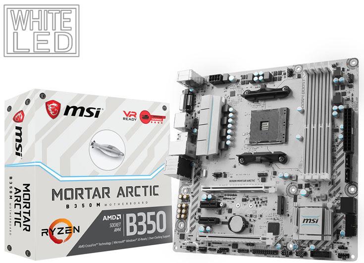 В оформлении системных плат MSI B350 Tomahawk Arctic и B350M Mortar Arctic преобладает белый цвет - 3