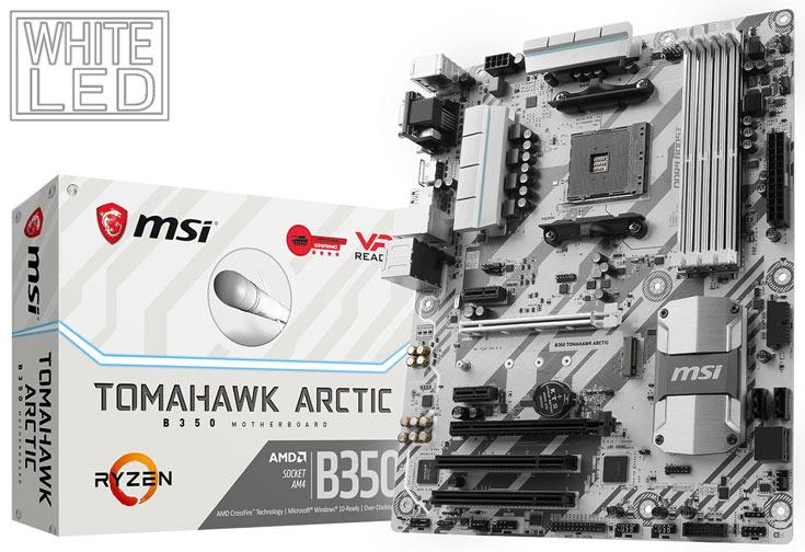 В оформлении системных плат MSI B350 Tomahawk Arctic и B350M Mortar Arctic преобладает белый цвет - 1