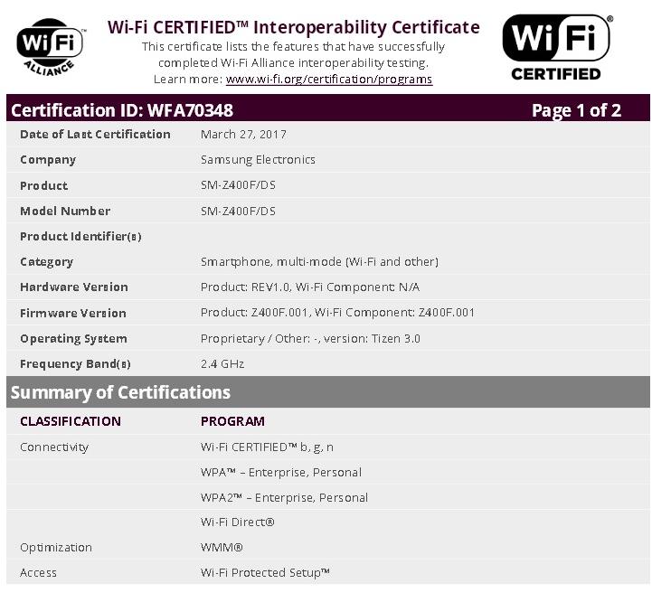 Смартфон Samsung Z4 будет поддерживать две карточки SIM